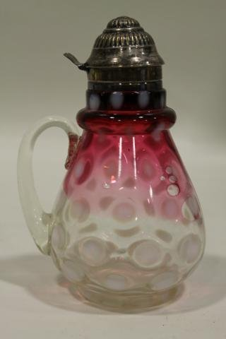 31: Northwood Opalescent Rubina Coinspot Syrup Pitcher