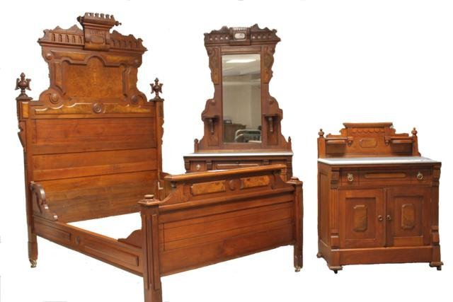 84: 3-Piece Victorian Marble top Walnut Bedroom Set