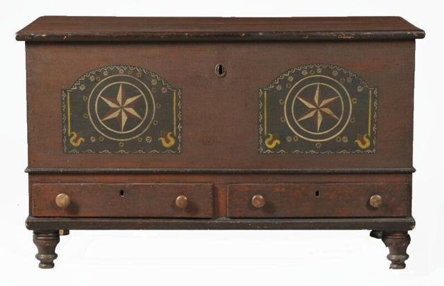 132: Great Early 1800s Pennsylvania  Blanket Chest