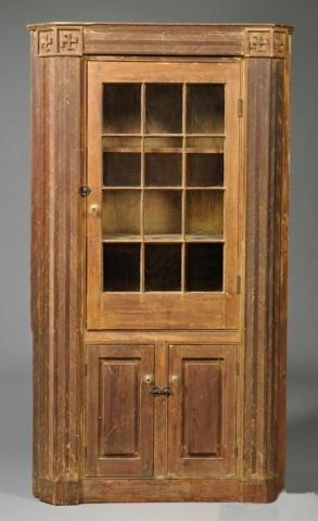 220: New England Early 19th C. Pine Corner Cupboard