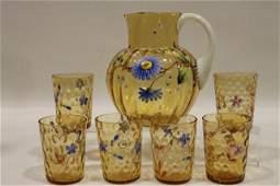 321: Moser Victorian Art Glass Pitcher & Tumblers