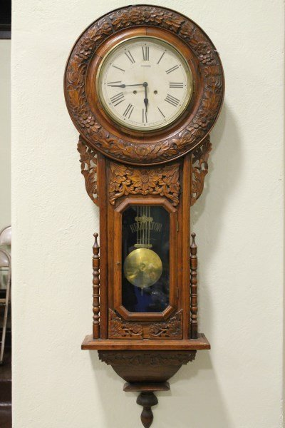 Sessions carved oak regulator wall clock large sessions carved oak regulator wall clock amipublicfo Image collections