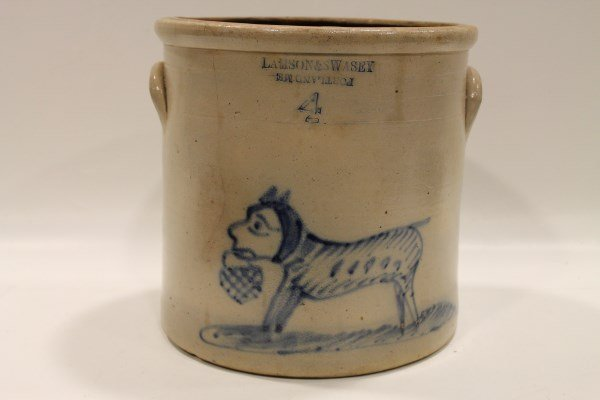 Rare & Important  Dog Decorated Stoneware Crock