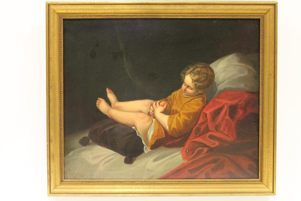 Mid 1800s Oil Painting of Child Asleep
