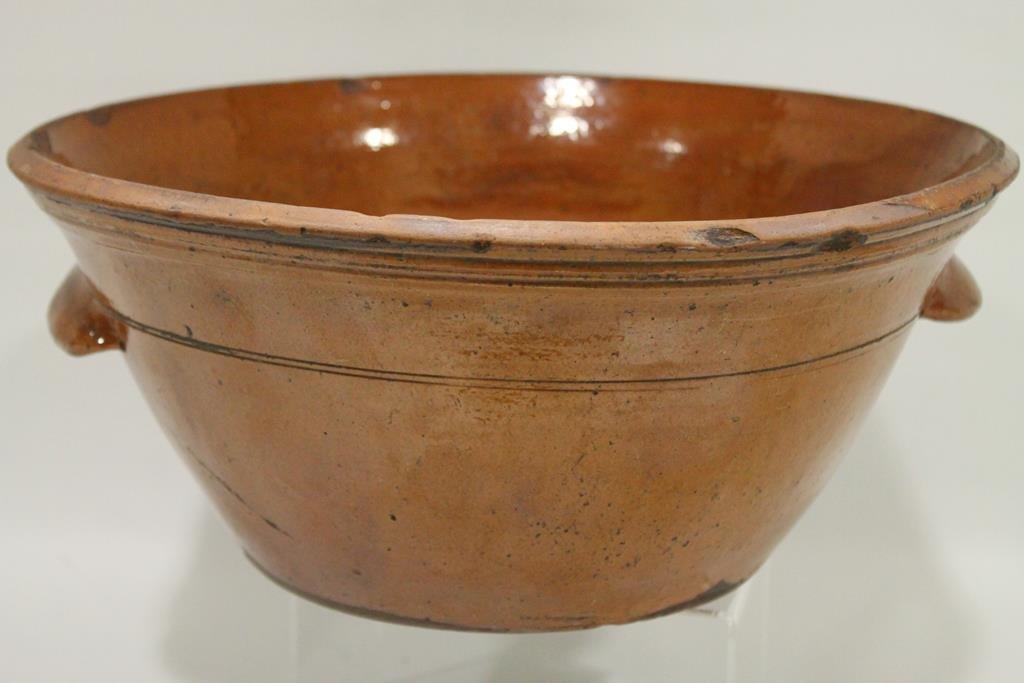 Large Pennsylvania Redware Handled Bowl