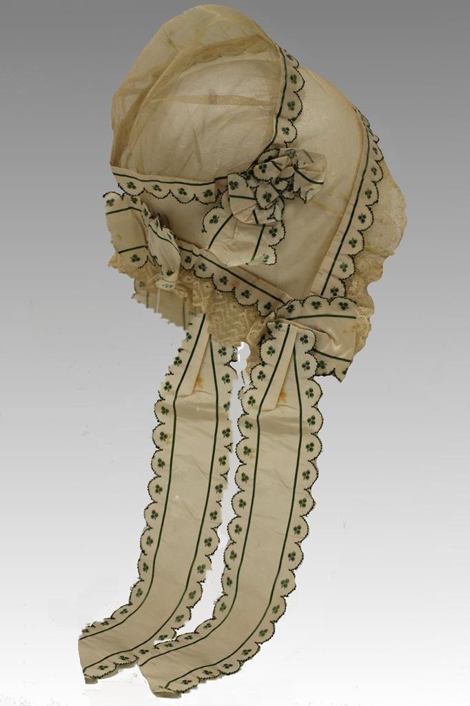 1850s Lace, Netting & Taffeta Cap - Museum