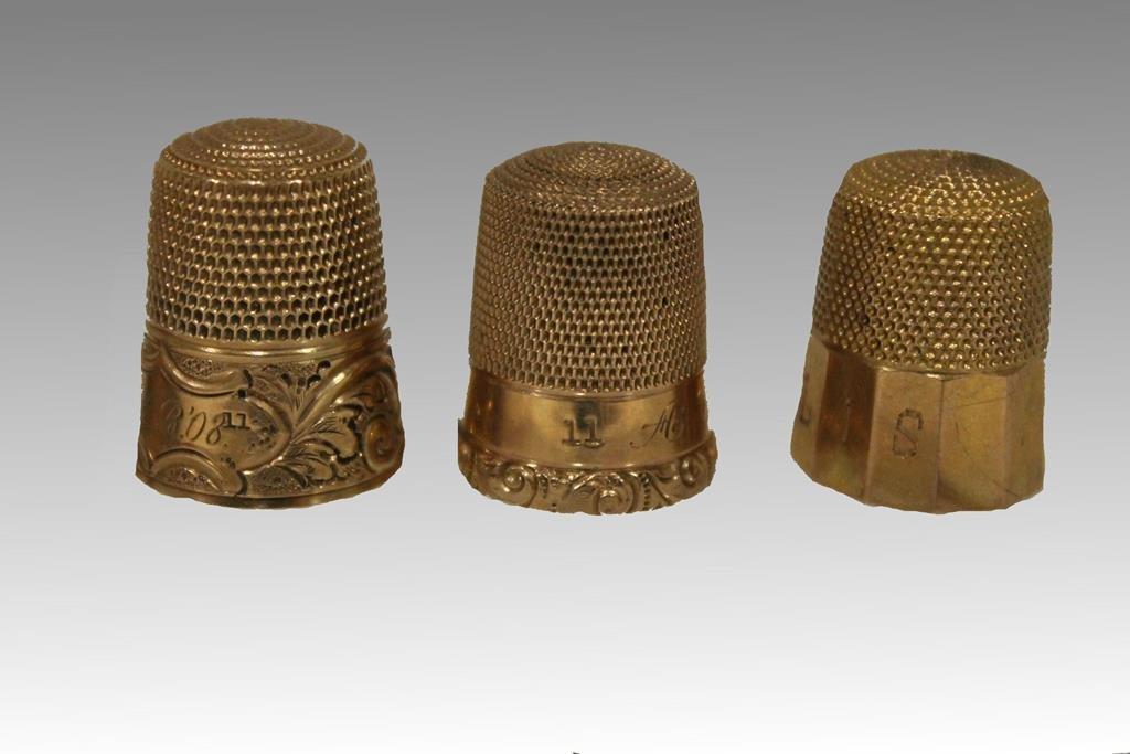 3 Gold Thimbles