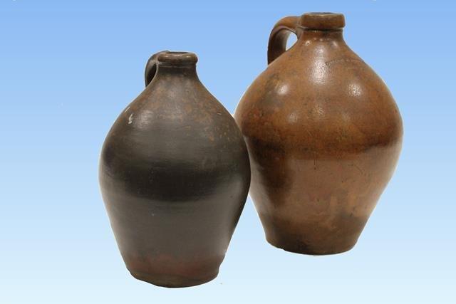 1780-1830 Bellamy Redware Liquor Jugs