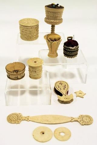 Victorian Carved Ivory Sewing Items