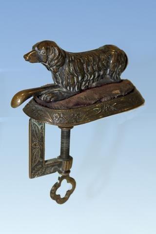 Rare Victorian Dog Pincushion Clamp