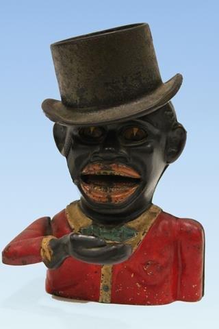 Jolly Black Man Mechanical Bank w/ Hat