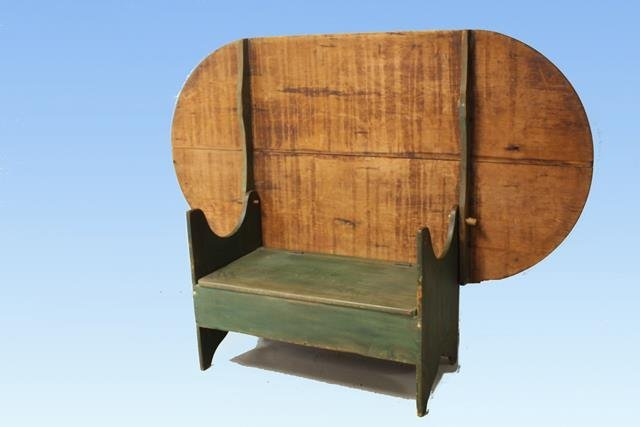 18th C Oval Hutch Table Green Paint