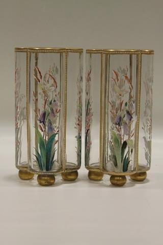 Pair Victorian Moser Mantle Vases
