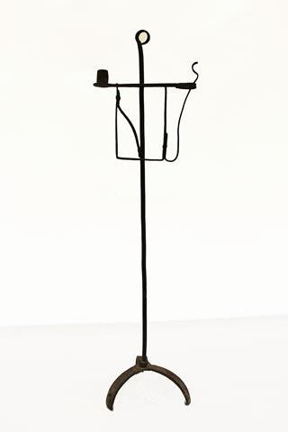 Rare Forged Iron Footed Candleholder