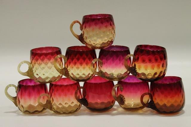 10 Amberina Diamond Optic Punch Cups