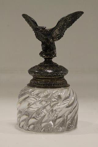 19th Flint Glass & Silverplated Eagle Inkwell