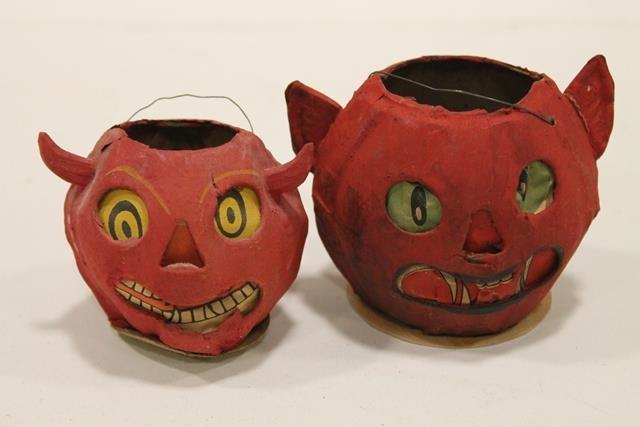 Pair Paper Mache Halloween Devil Lanterns