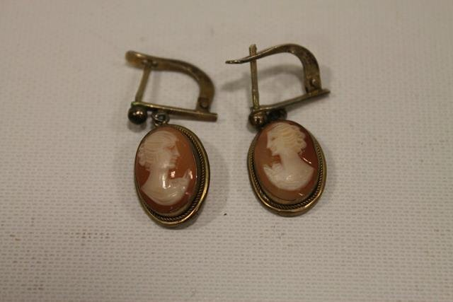 1900 Gold-Filled Cameo Earrings - Italy