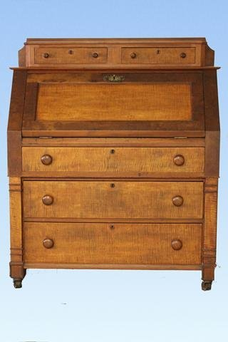 Rare 1873 Tiger Maple Desk Signed Werrey