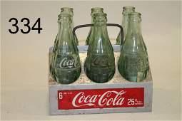 CocaCola Metal Bottle Carrier w Bottles