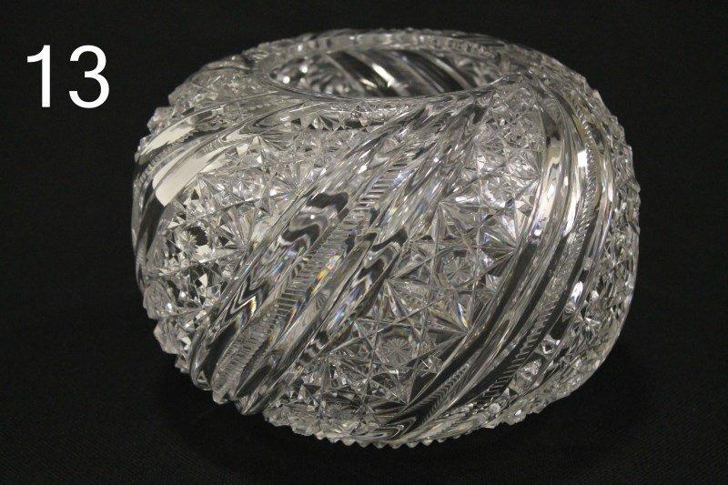 American Brilliant Period Large Cut Glass Rose Bowl