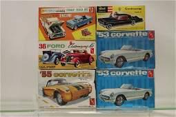 6 Model Car Kits, 4 AMT, 1 Revell, 1 AMP