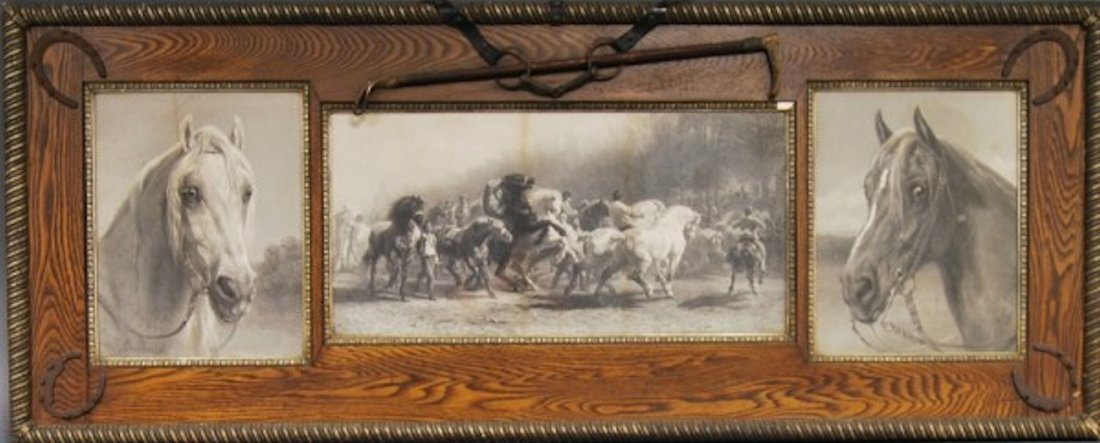 "Rosa Bonheur Horse Picture 79"" L w/ Real Crop,"