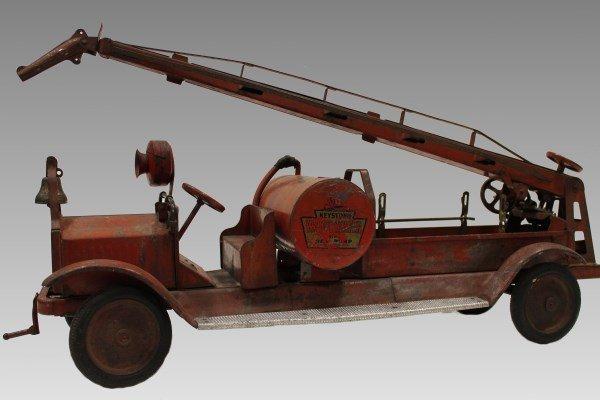 Lg Pressed Steel Keystone Packard Fire Truck - Water