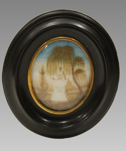 Watercolor and Hair Memorial Mourning Plaque on Ivory
