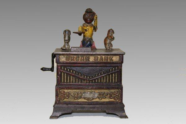 Musical Organ Grinder Mechanical Bank 1 of 9