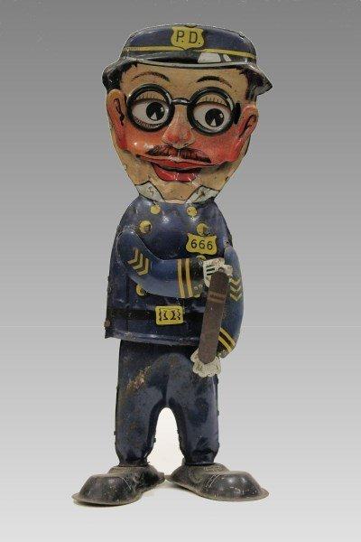 1931 Marx Tin Wind-Up Officer 6-6-6 Policeman - Walks,