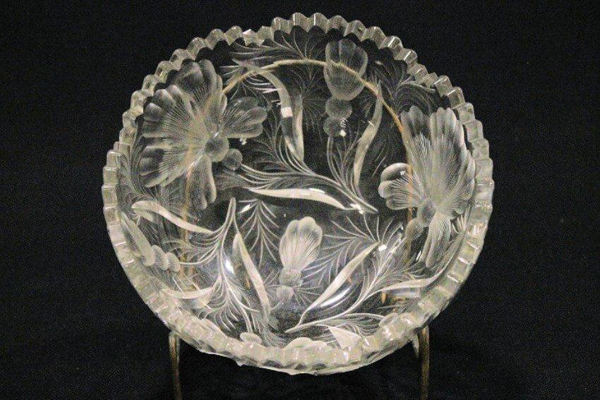 Cut Glass  - Tuthill? Cut Floral Pattern Bowl