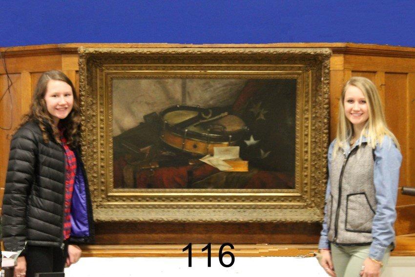 Very Large 19th O/C Painting of Civil War Memorabilia