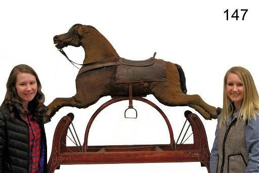 Victorian 19th C  Horse Hide Covered Rocking Horse