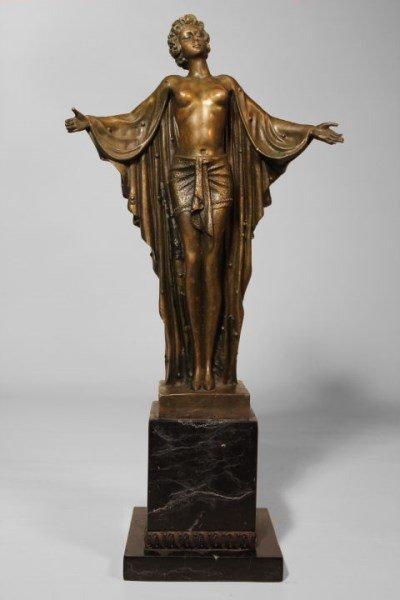 DH Chiparus Semi-Nude Bronze Sculpture C. 1920-30