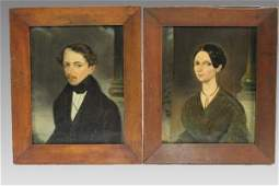 Artist Signed Lowit 1840 Husband Wife Portraits