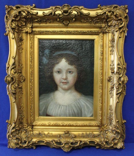 Mid-19th C Portrait Painting O/C of  Young Girl