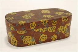 Paint Decorated Oval Band Box  19th C