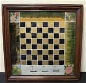 Folk Art Reversed Painted Checkerboard  19th C