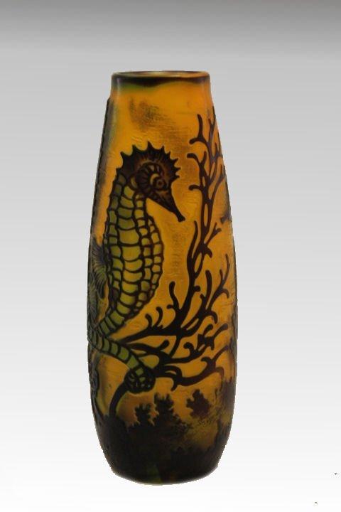 Art nouveau galle cameo glass vase seahorses 1900s art nouveau galle cameo glass vase seahorses reviewsmspy