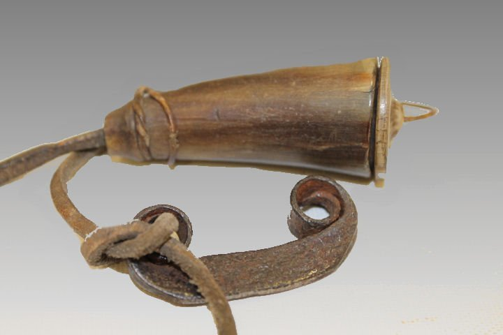 18th-19th C Tinderbox Horn with Iron Striker