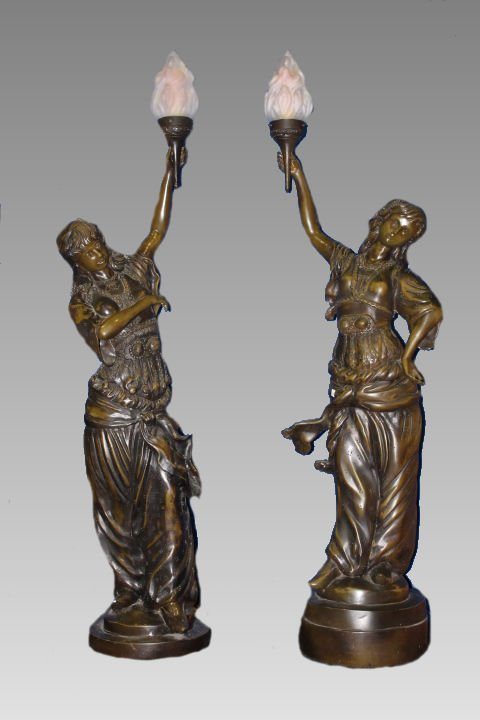 Bronze-Toned Victorian Statue Floor Lamps w/ Torches