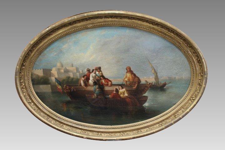 1700s Seaport Painting Manner of De la Croix
