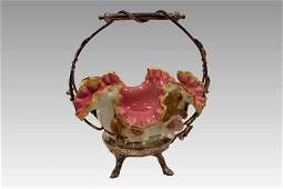 Victorian Cased Glass Brides Basket  Applied Flowers
