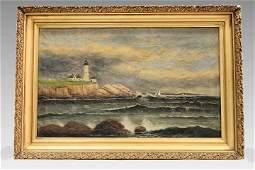 Lighthouse Painting Signed T Parkhurst (1853-1923)