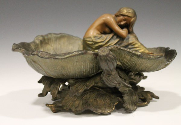 Art Nouveau Cold-Painted Semi-Nude on Lily Pad