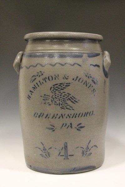 Rare Hamilton & Jones Eagle Decorated 4-Gal Crock