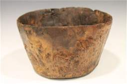 Primitive Native American Burl Ash Bowl  Flat Bottom