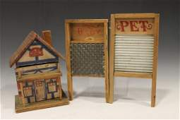 Small Doll House & Child's Wooden Wash Boards