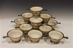 12 Sterling DoubleHandled Cream Soups  Lenox